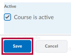 Identifies Course is Active checkbox and Save button