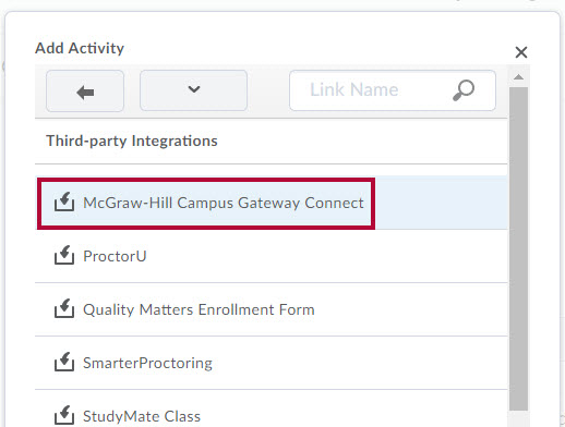 Identifies McGraw-Hill Campus Gateway Connect choice on Third Party Integrations menu