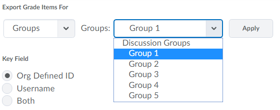 Shows Groups options.