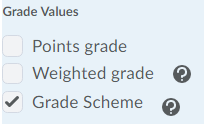 Shows the grade value options for Grades export.
