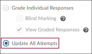 Shows Grade options with 'Update All Attempts' selected.