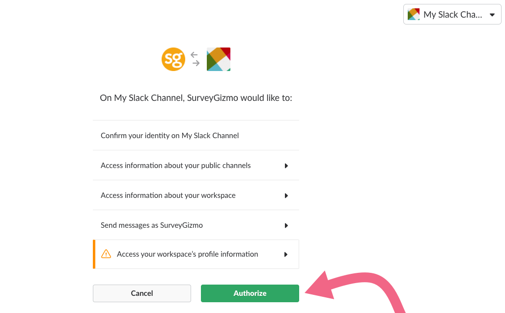 Authorize SurveyGizmo to Access Your Slack Workspace