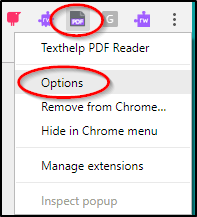 Texthelp PDF Reader Options