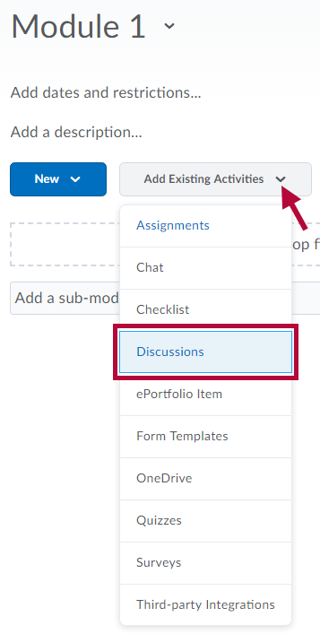Image shows where to find Discussions link.