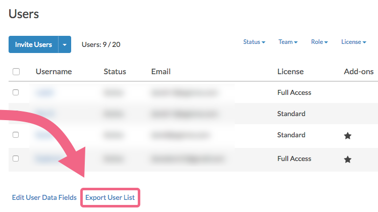 Export User List