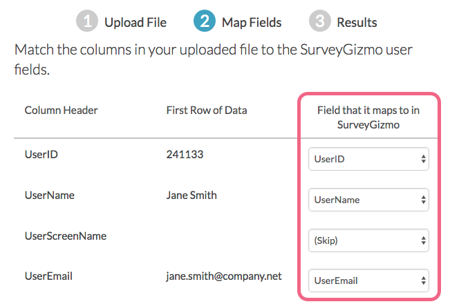 Map User Fields