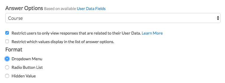 User Data Question Format