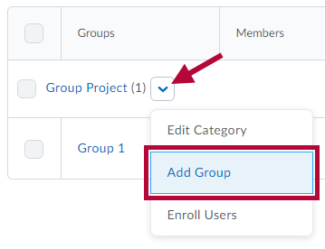Location of Add Group link