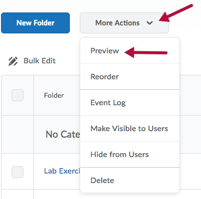Indicates Assignment Preview Options under More Actions menu