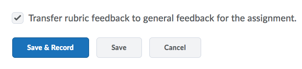 Shows Transfer rubric feedback to general feedback checkbox.