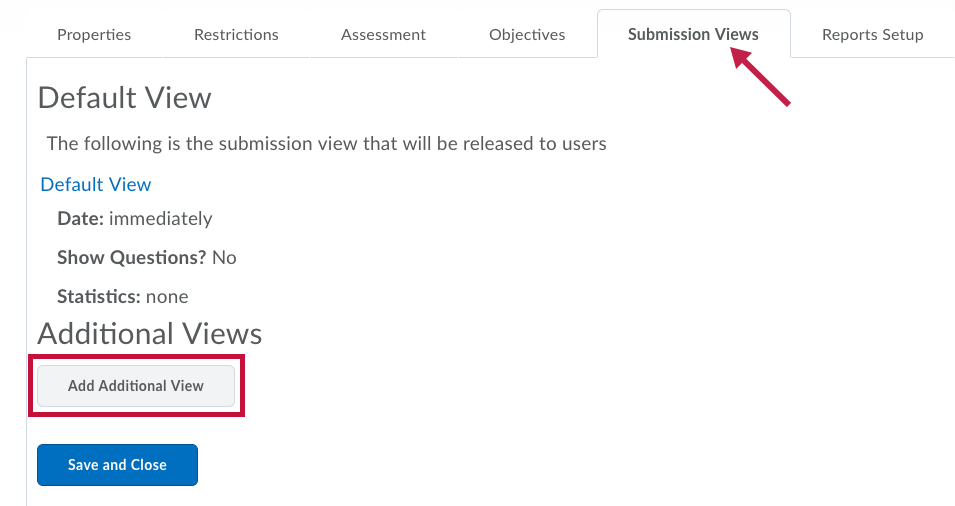 Indicates the Submission View tab and Identifies the Add Additional View button.