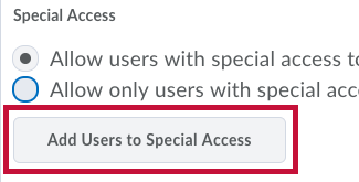 Identifies Add Users to Special Access button