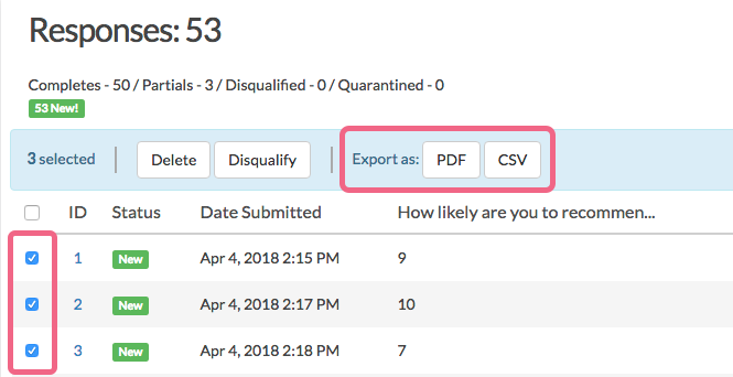 Export Multiple Responses as PDF or CSV