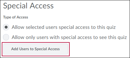 Identifies Add User to Special Access button