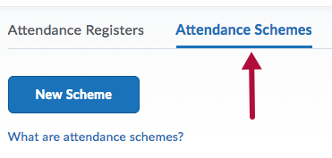 Indicates Attendance Schemes tab on Attendance page