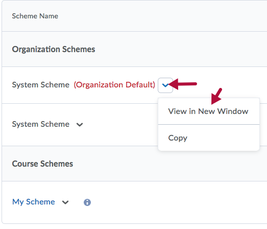 Indicates View in New Window option in context menu of Organization Scheme