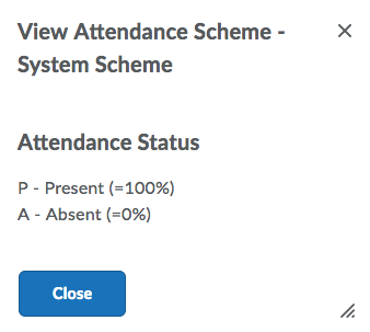 Shows Default System Scheme under View Attendance Scheme