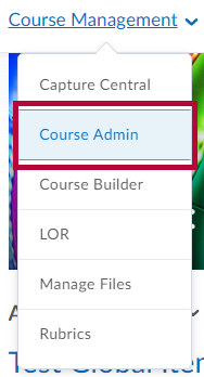 Identifies Course Admin in Course Management menu