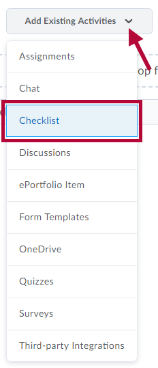 Identifies Checklist on the Add Existing Activities menu.