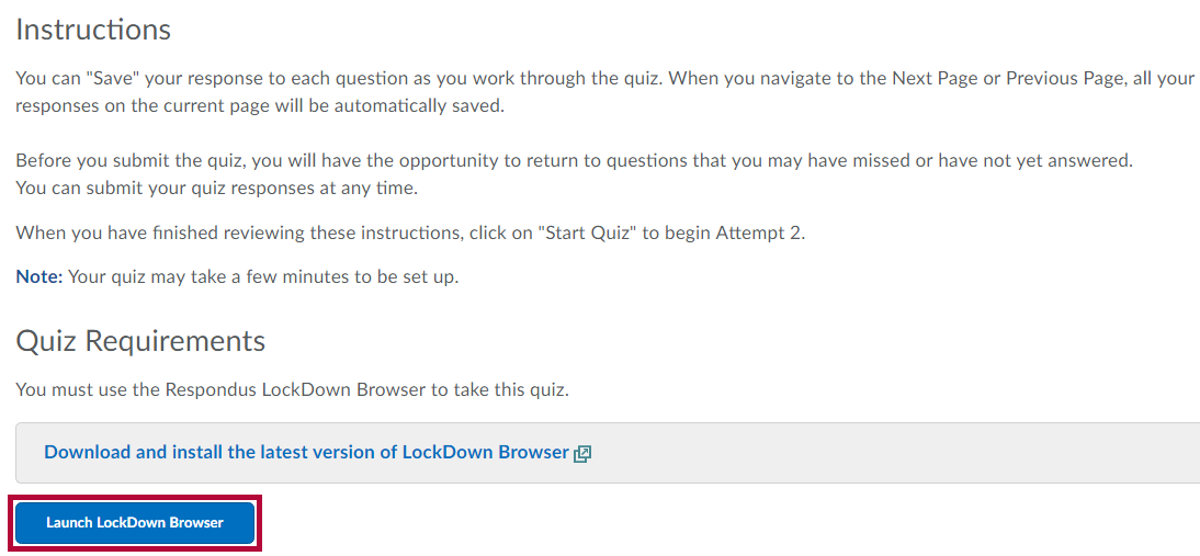 Identifies Launch LockDown Browser button