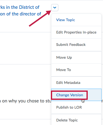 Indicates drop down arrow and Identifies location of Change Version link