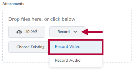 Indicates location of Record menu. Identifies Record Video choice.