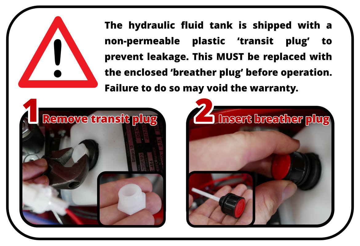 Multi-Tip hydraulic oil tank fitted with plastic breather plug