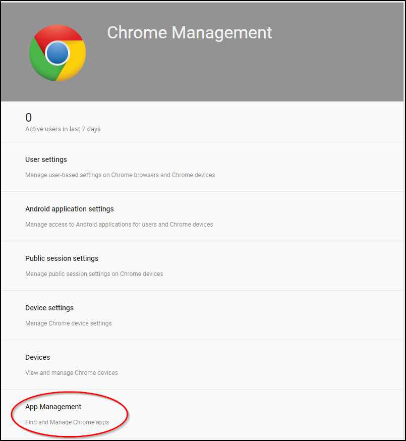 Google Admin Console Chrome management App Management