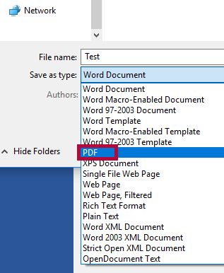 Indicates the Save as Type options with PDF selection.