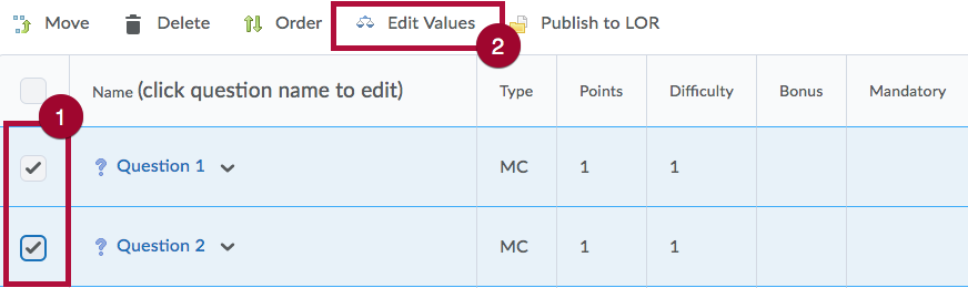 Identifies Select questions and Edit Values option on Add/Edit Questions page