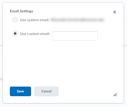 Shows email options.