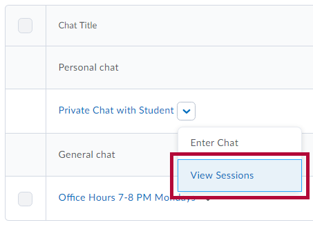 Identifies the View Sessions option.