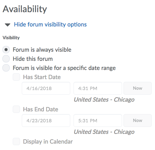 Availability Option for New Forum