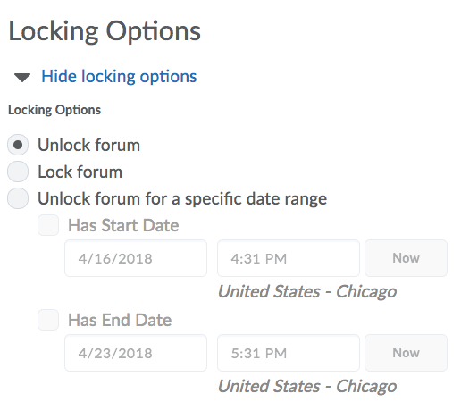 Locking Options for New Forum
