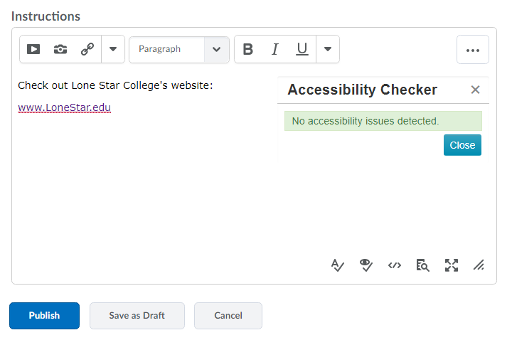 Shows Accessibility Checker results