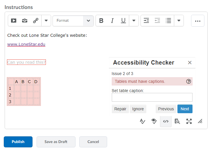 Shows Accessibility Checker results with issues and repair option