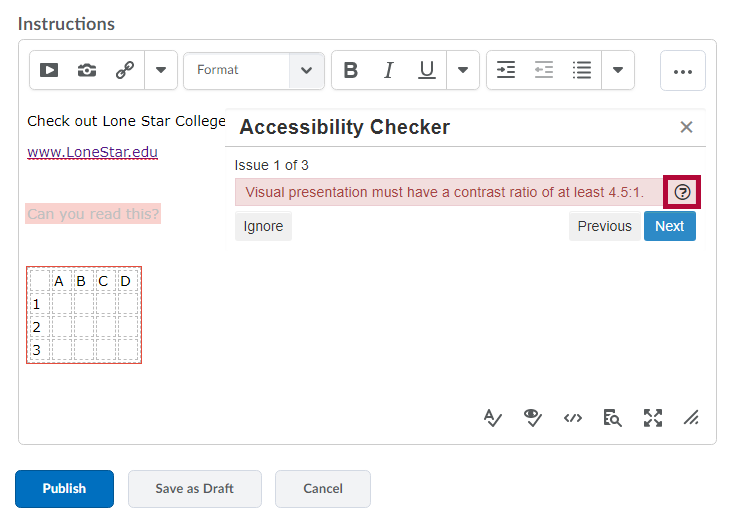 Shows Accessibility Checker results with issues