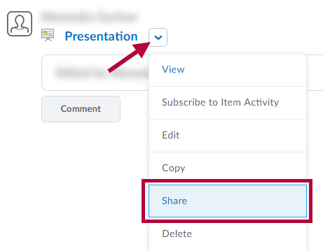 Indicates presentation context menu and identifies Share option.