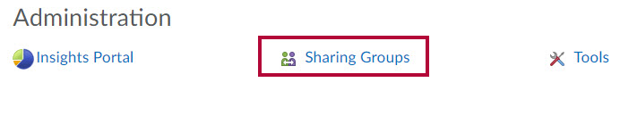 Identifies the Sharing Groups link.