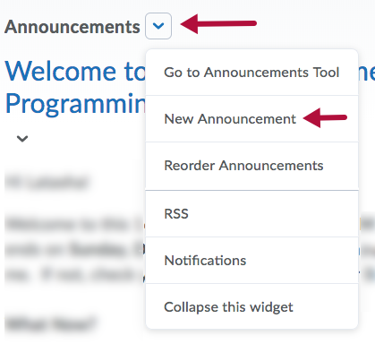 New Announcement menu option in Announcements context menu