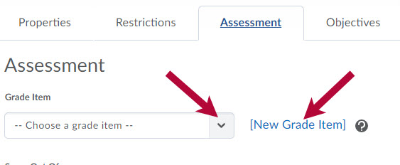Identifies Grade Item options