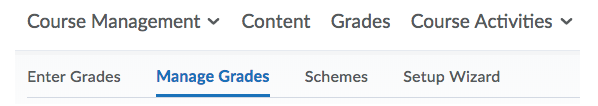 Manage Grades tab on Grades page