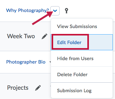Location of Edit Folder link