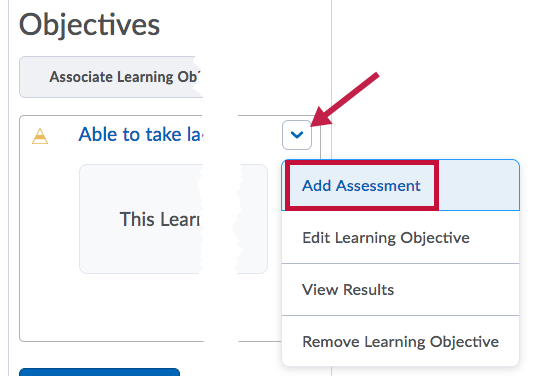 Location of Add Assessment link