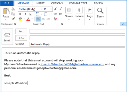 example automatic reply email
