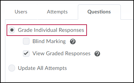 Identifies Questions tab options