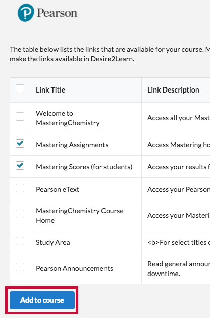 Shows Choosing Content and the Add to course button