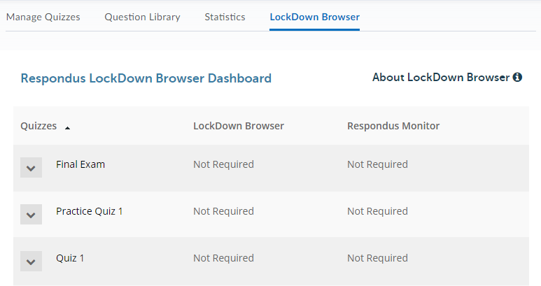 Displays the  Respondus LockDown Browser Dashboard.