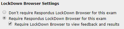 Displays LockDown Browser settings
