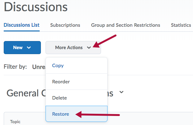 Restore option from More Actions menu on Discussions page